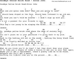 wedding dress chord song goodbye yellow brick road by elton with lyrics for