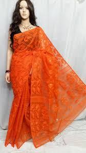 dhakai jamdani orange dhakai jamdani sarees dailybuyys