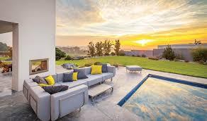canapé design de luxe mobilier de jardin de luxe canapé angle design 5 places acier brossé