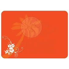 post wedding reception invitation purple orange white tropical