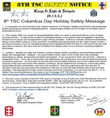 8th tsc columbus day holiday safety message article the united