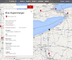 Tesla Supercharger Map Tesla Opens Erie Supercharger Connecting West Pa With Ny