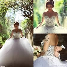 2017 long sleeve wedding dresses with rhinestones crystals