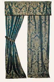 Gold Metallic Curtains 1920s Blue And Gold Lined Damask Curtains With Gold Metallic Trim