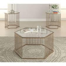 metal frame coffee table modern hexagonal clear glass top chagne metal frame coffee table