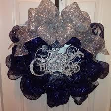 navy blue u0026 silver deco mesh christmas wreath christmas ideas