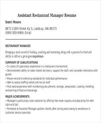 Food And Beverage Resume Template Restaurant Manager Resume Template Resume Tips For Assistant