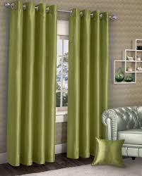 Stylish Ring Eyelet Lined Curtains Plain Faux Silk Lime Green