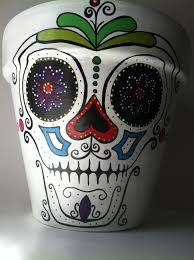 day of the dead sugar skull hernando hand painted flower pot