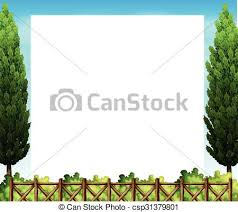 border design with tree and fence illustration vector clipart