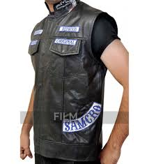 leather motorcycle vest of anarchy jax teller biker vest with patches