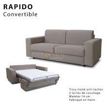 canapé convertible rapido couchage 3 tailles tissu tramé en 9 coloris