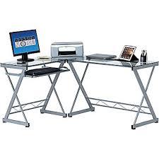 Glass Top L Shaped Computer Desk Techni Mobili Computer Desk Clear Rta 3802 Staples