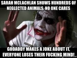 Neglected Wife Meme - sarah mclachlan shows hundreds of neglected animals no one cares