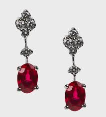 ruby drop earrings brilliant cut oval ruby and diamond drop earrings and jones