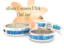 Opal Wedding Ring by Blue Opal Engagement Wedding Ring Sets Navajo Wedding Rings