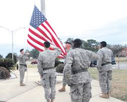 Soldiers Lifting Flag Honoring The Flag Detail More Than Raising Lowering Flag