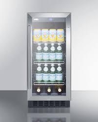beverage cooler with glass door summit scr1536bg 15 inch built in beverage center with 2 45 cu ft
