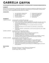 Plain Text Resume Example by Compensation And Benefits Cv Example For Human Resources Livecareer