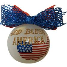 god bless america glass patriotic ornament