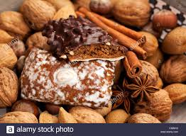traditional german gingerbread cookies upon nuts and spices stock