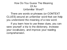how do you guess the meaning of an unfamiliar word there are words