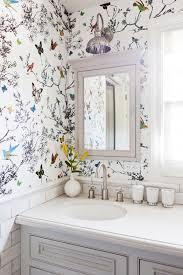 bathroom with wallpaper ideas home tour a youthful whimsical l a home whimsical wallpaper