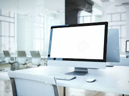 White Chair Blank Computer Screen With White Chair In Office 3d Rendering