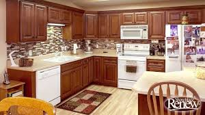 Golden Oak Kitchen Cabinets by From Basic Oak To Elegant Cherry With Renew Cabinet Refacing Youtube