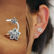 cuff piercing flower and rhinestone ear cuff single no piercing