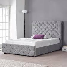 Velvet Sleigh Bed Mina Grey Crushed Velvet Buttoned Sleigh Bed U2013 Glam Home Store