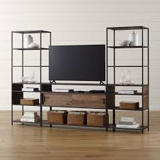 sawyer white media stand with media shelf and two 18 u0027 u0027 bookcases