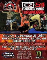 combat zone 51 thanksgiving throwdown mma event page tapology