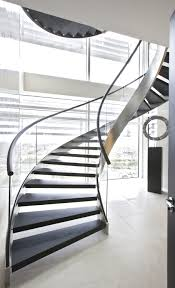 Glass Banisters For Stairs Architecture Contemporary Homes With Metal Spiral Staircase