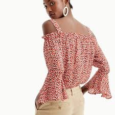 cold shoulder top silk cold shoulder top in heart print women shirts tops j crew