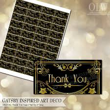 gatsby art deco thank you tags gold and black printable thank