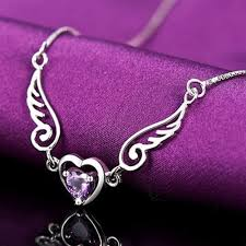 purple heart necklace images Angel wings sterling silver purple heart pendant and necklace jpg