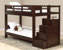 bedroom loft bed made from varnished wooden with stairs with