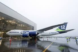 boeing painted a 747 in seattle seahawks colors for super bowl