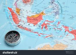 Usa Map With Compass by Compass On Map Pointing Indonesia Planning Stock Photo 207995719