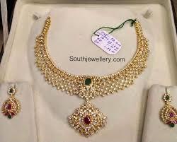 gold stone necklace images Cz stones necklace set jewellery designs jpg