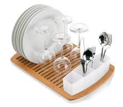 wooden dish rack designs with wine glass and white plate also