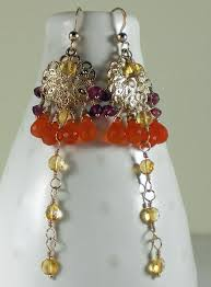 Chandelier Gold Earrings Long Gold Chandelier Earrings Orange U0026 Gold Gems Long Gold Earrin