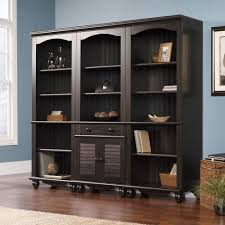 Sauder Bookcase With Glass Doors by Sauder Harbor View Bookcase With Doors Antique White Antique