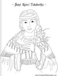 Saint Kateri Tekakwitha Coloring Page July 14th Catholic Playground Saints Colouring Pages