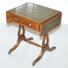 leather top side table rare regency style green leather top mahogany extending lamp wine
