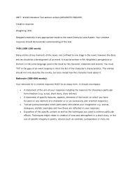 rationale essay sample creative response english