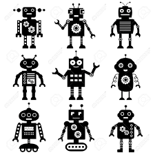 free robot clipart black and white clipground