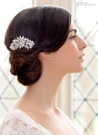 hair crystals woven updo and a 1940s inspired hair comb with crystals