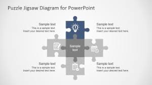 Free Flat Puzzle Jigsaw Powerpoint Diagram Slidemodel Puzzle Powerpoint Template Free
